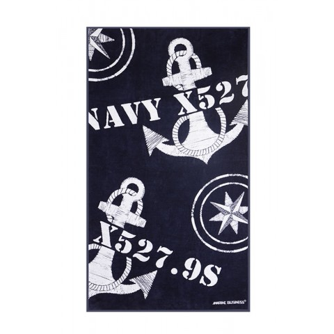 FREE STYLE Deck Towel Navy Blue with Inflatable Pillow
