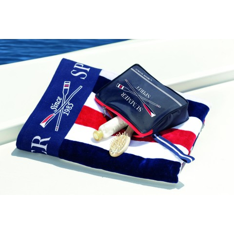 SPIRIT Towel with Toilet Bag, Red and White Stripe - 2 Pcs