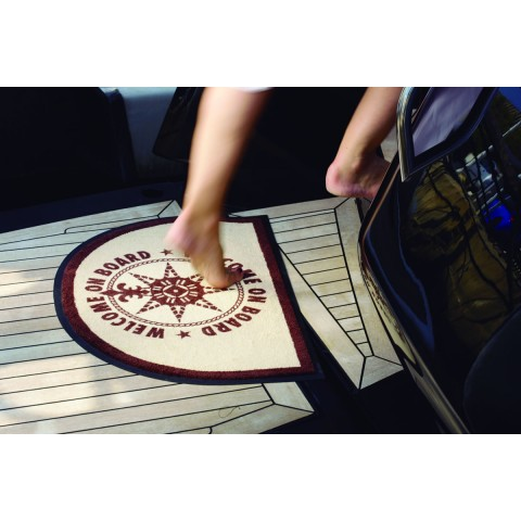 WELCOME ON BOARD Brown Half Moon Non-slip Mat - 2 Pcs