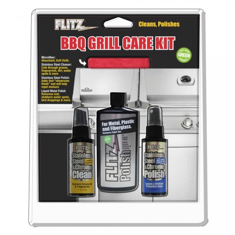 Flitz Bbq Grill Care Kit Metal Polish Ss Cleaner Ss Polish