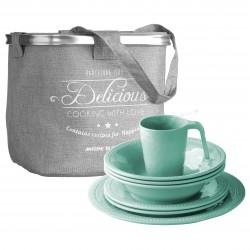 Harmony Acqua Tableware Set - 24 Pcs - Melamine