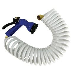 Whitecap 15' White Coiled Hose w/Adjustable Nozzle