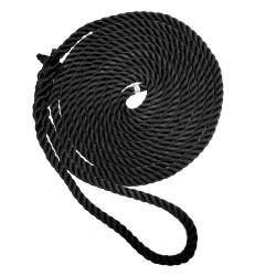 "New England Ropes 5/8"" X 35' Premium Nylon 3 Strand Dock Line - Black"