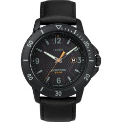 Timex Gallatin Solar Watch - Leather Strap/Black Dial