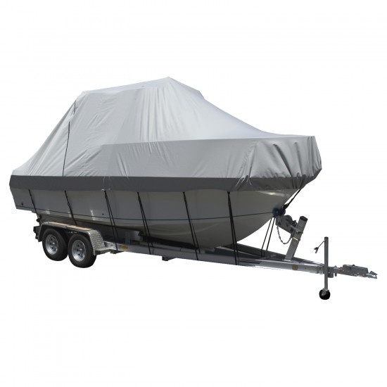 Carver Performance Poly-Guard Specialty Boat Cover f/24.5' Walk Around Cuddy & Center Console Boats - Grey