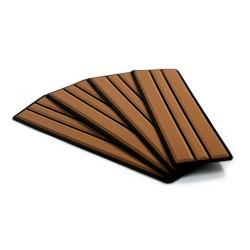 "SeaDek Brushed 6mm 4-Piece Step Kit - 3.75"" x 12.75"" - Mocha/Black Faux Teak"